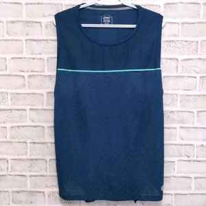 Asics Blue Mesh Sleeveless Athletic Tank Size XL